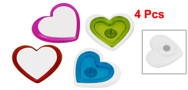 4 Pcs Plastic Heart Print Magnetic Sticker Assorted Color for Refrigerator