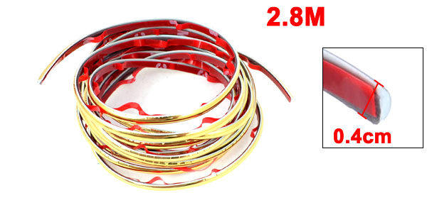 Gold Tone Slim Car Decorative Moulding Trim Strip 2.8M 9Ft