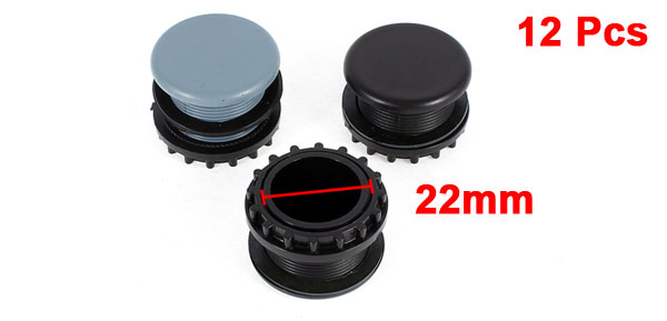 12 Pcs Black + Gray Plastic Push Button Switch 22mm Mount Hole Panel Plug Cover Cap