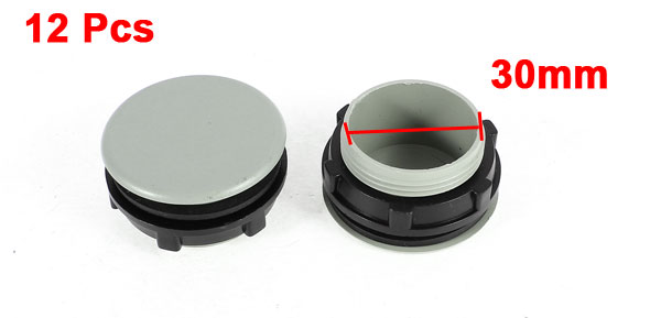 12 Pcs Black Gray Plastic Push Button Switch 30mm Mount Hole Panel Plug Cover Cap