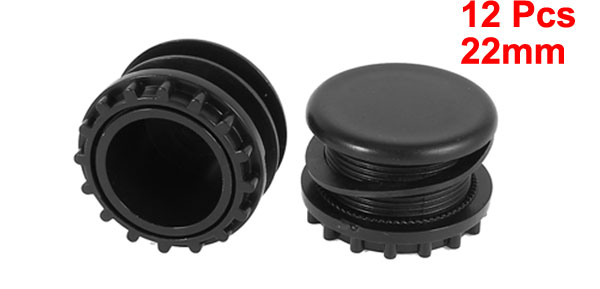12 Pcs Black Plastic Push Button Switch 22mm Mount Hole Panel Plug Cover Cap