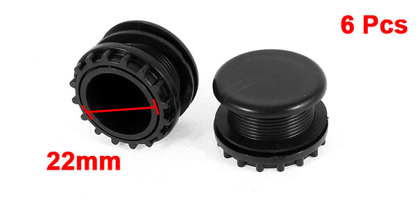 6 Pcs Black Plastic Push Button Switch 22mm Mount Hole Panel Plug Cover Cap