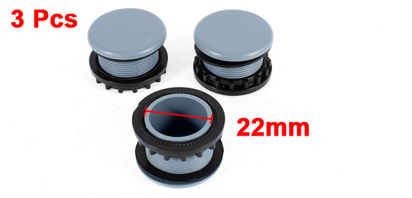 3 Pcs Gray Plastic Push Button Switch 22mm Mount Hole Panel Cover Cap