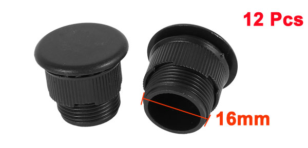12 Pcs Black Plastic Push Button Switch 16mm Mount Hole Panel Plug Cover Cap