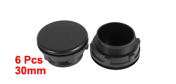 6 Pcs Black Plastic Push Button Switch 30mm Mount Hole Panel Plug Cover Cap