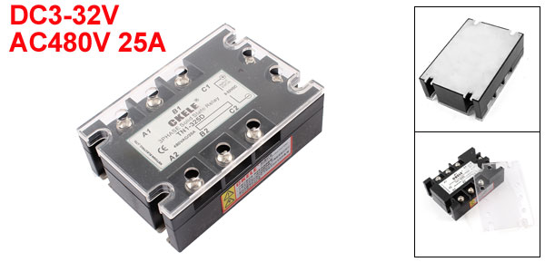 TN1-325D 6 Terminals 3 Phase Indicator Light Solid State Relay DC3-32V AC480V 25A