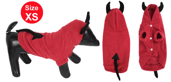 Winter Warm Hoodie Single Breasted Sleeved Pet Dog Doggy Apparel Coat Clothes Red Size XS