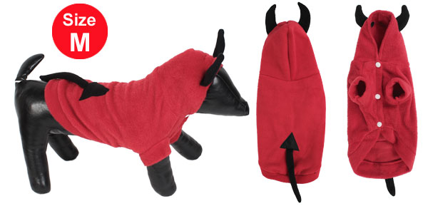Winter Warm Hoodie Single Breasted Sleeved Pet Dog Doggy Apparel Coat Clothes Red Size M
