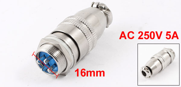 AC 250V 5A 4 Pin Terminal Aviation Plugs Connectors Joint for 16mm Panel Hole