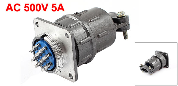AC 500V 5A 12-Pin Aviation Connecting Plug for 24mm Panel Hole Diameter