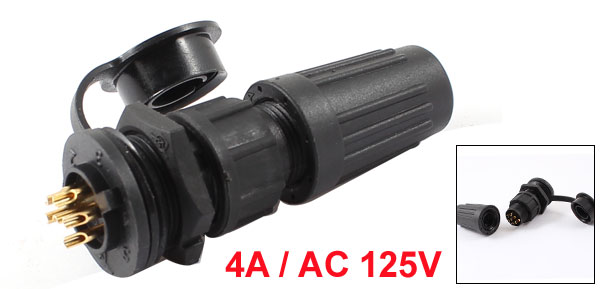 AC 125V 4A 5-7mm Waterproof Cable Gland 6-Pin Connector Aviation Plug w Cap