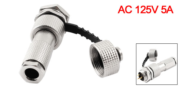 AC 125V 5A 12mm Thread 3 Pins Aviation Connector Plug + Waterproof Cap
