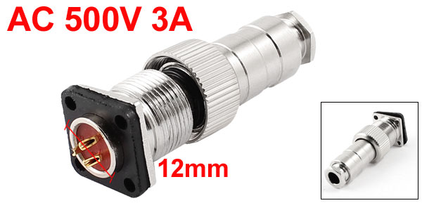 AC 500V 3A 3 Terminal Waterproof  Aviation Connectors Joint for 12mm Panel Hole