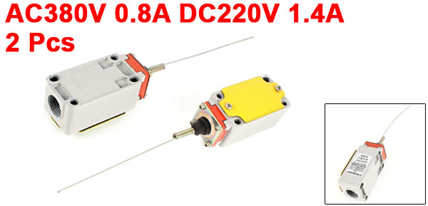 2x AC380V 0.8A DC220V 1.4A SPDT Momentary Spring Rod Limit Switch LXK3-20S/W