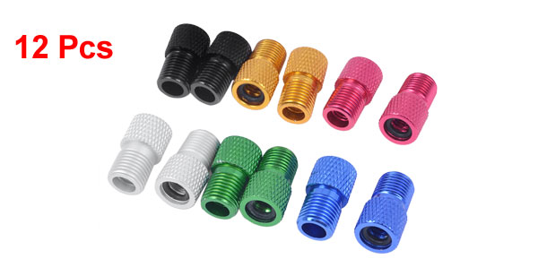 Colorful Aluminium Alloy Mountain Bike Presta Valve Adaptors Converters 12 Pcs