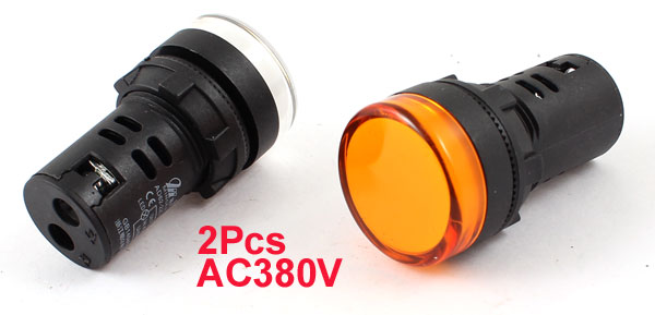 2Pcs AC380V Energy Saving Yellow White LED Indicator Pilot Signal Light Lamp