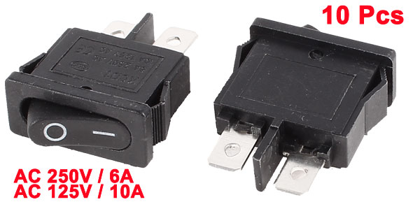 10 Pcs KCD1 AC 250V 6A 125V 10A 2 Terminal SPST ON/OFF Panel Rocker Switch