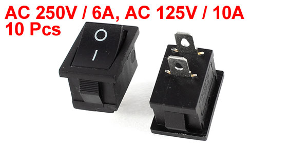 10 Pcs ON/OFF I/O SPST 2 Terminal Rocker Switch AC 250V 6A 125V 10A