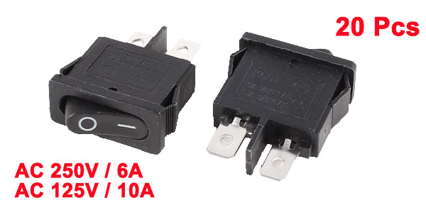 AC 250V 6A 125V 10A 2 Pin I/O 2 Position SPST Snap in Rocker Switch Black 20pcs