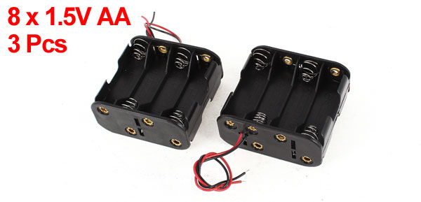 3 Pcs Wired Dual Sides 8 x 1.5V AA Battery Case Container Box Holder