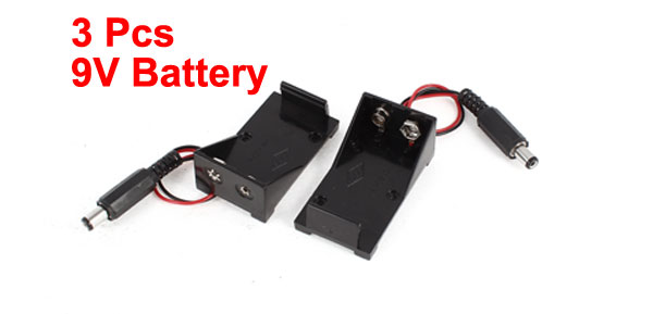 3pcs 2.1 x 5.5mm Male Black Plastic 9V Batteries Holder Case Box