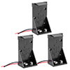 3 Pcs Replacement Double Wire Lead 9V Battery Box Case Holder Connector