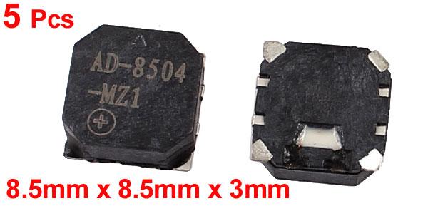 5 Pcs 8.5mm x 8.5mm x 3mm Black Square SMT SMD Buzzer DC 3.6V/90mA