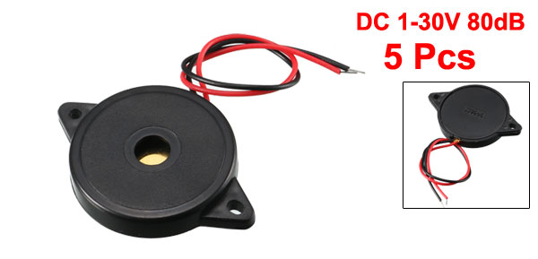 5 Pcs DC 1-30V 80dB Sound Electronic Buzzer Alarm Black 30 x 5mm