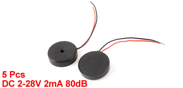 5 Pcs DC 2-28V 80dB Sound Electronic Buzzer Alarm Black 14 x 4mm