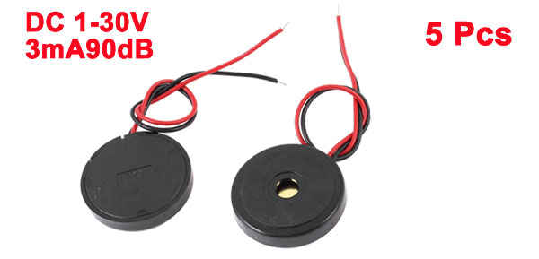 5 Pcs DC 1-30V 90dB Sound Electronic Buzzer Alarm Black 30 x 6mm