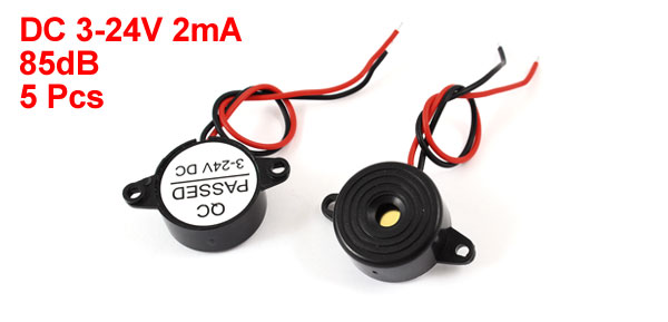 5 Pcs DC 3-24V 85dB 16 Ohm Sound Electronic Buzzer Alarm Black 23 x 11mm