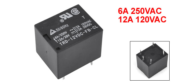 TRD-12VDC-FB-CL 5 Pin AC 250V/6A 120V/12A Power Relay DC 28V Coil