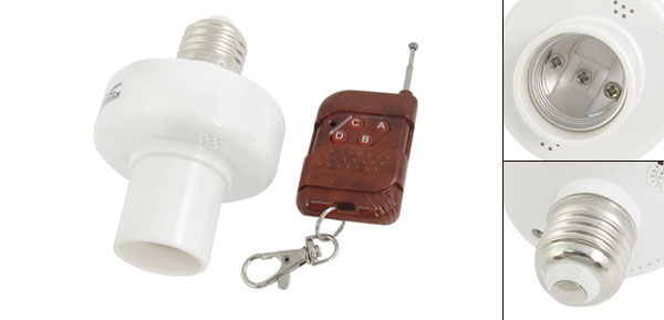 20M E27 Screw Wireless Remote Control Light Lamp Holder Cap Socket Switch Brown