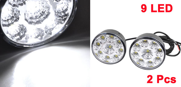2x DC 12V 9LED Round Daytime Running Light DRL Car Fog Lamp Headlight White