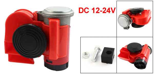 Absopro Auto Car Red Plastic Shell Air Compressor Opearted Horn Trumpet DC 12-24V