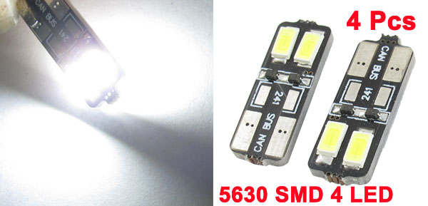 4 Pcs Error Free White 4 5630 SMD LED Auto Panel Gauge Light Bulb T10 Internal