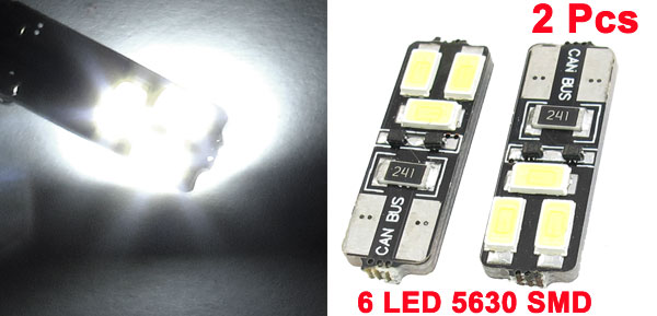 4 Pcs T10 White 6 LED 5630 SMD Canbus Dashboard Side Marker Light for Car Internal