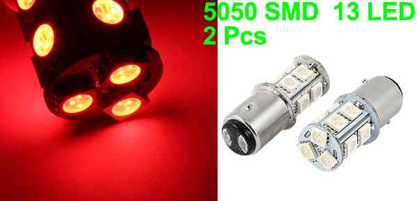 Pair 1157 5050 13-SMD Flash Red LED Turn Signal Tail Light 12V for Car