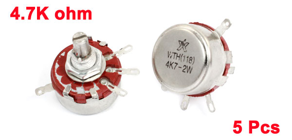 5 Pcs 4.7K ohm 2W Round Shaft 4 Terminal Rotary Carbon Potentiometer WTH118
