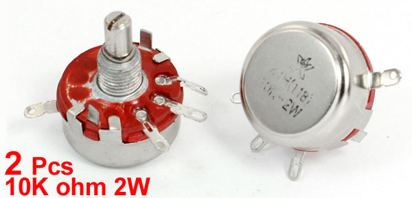 WTH118 10K ohm 2W 6mm Round Shaft 4 Pins Carbon Rotary Potentiometer 2pcs
