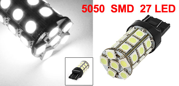 W21W 7443 5050 SMD 27 LED Backup Tail Light Lamp Bulb White DC 12V