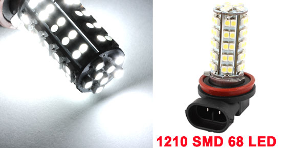 White H11 3528 1210 SMD 68 LED Fog Light DRL Daytime Running Lamp DC 12V