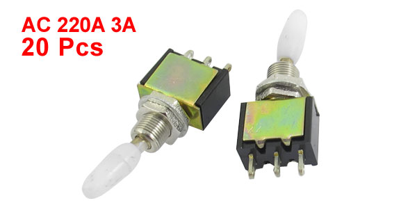 20 Pcs AC220V 3A 6mm Dia Thread Panel Mount SPDT 3-Pin 1NO 1NC ON/OFF Self-Locking Toggle Switch