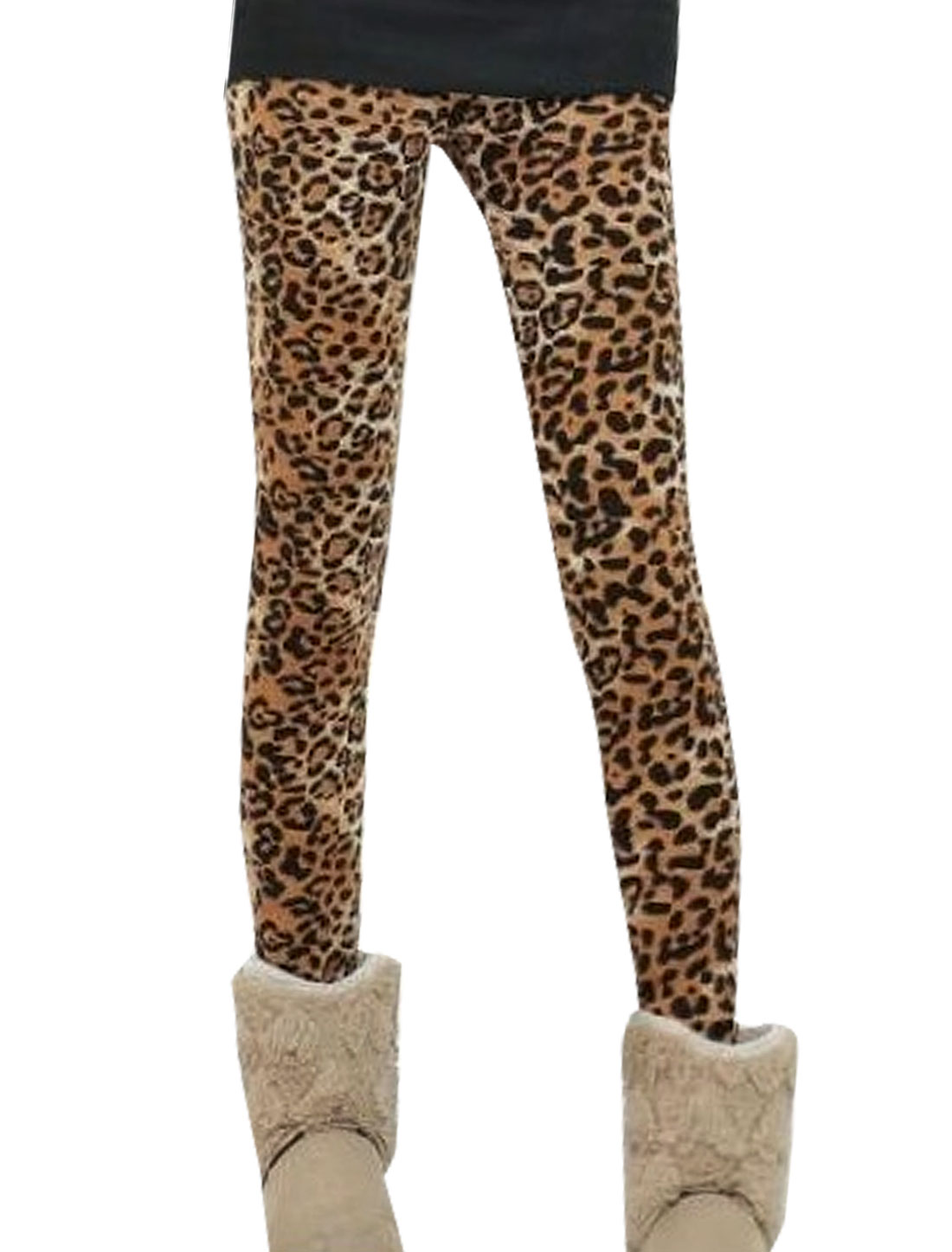 Women Elastic Waist Fleece Lining Leopard Print Leggings
