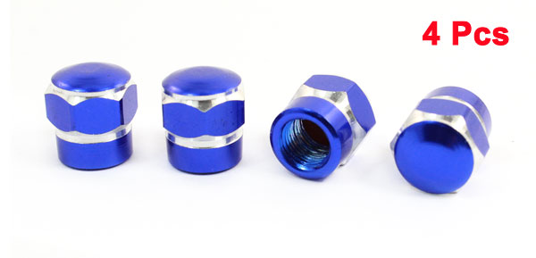 4 Pcs Blue Hex Metal Auto Car Tire Valve Stem Cap Cover Decor 13 x 13mm