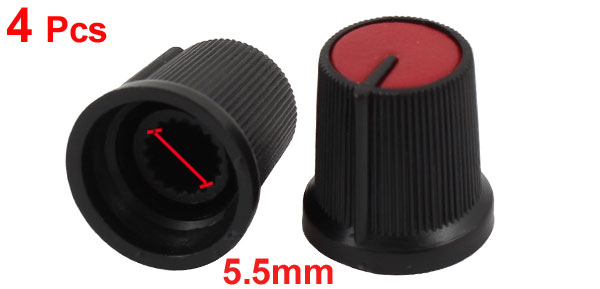4pcs Plastic 5.5mm Shaft Taper Volume Control Knob Cap for Potentiometer Pot