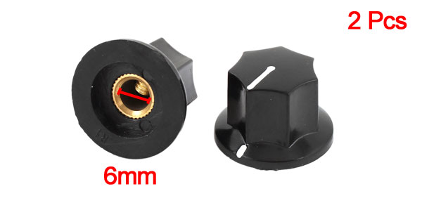 2pcs 6mm Insert Diameter Shaft Plastic Potentiometer Rotary Knob Pots Black