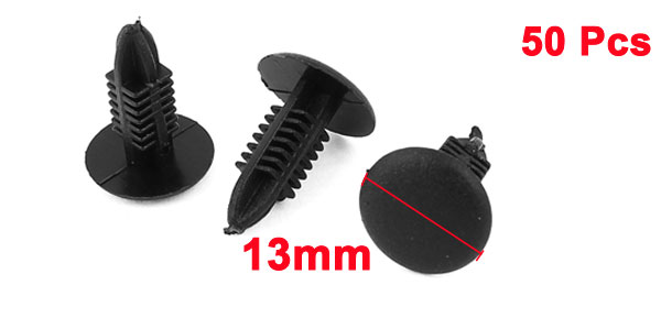 50 Pcs 5.2x5.2mm Hole Push Type Plastic Rivet Fastener Clips Black for Auto