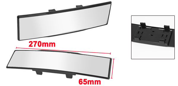 75mm x 270mm Wide Flat Clip on Auto Car Interior Rear View Mirror Black