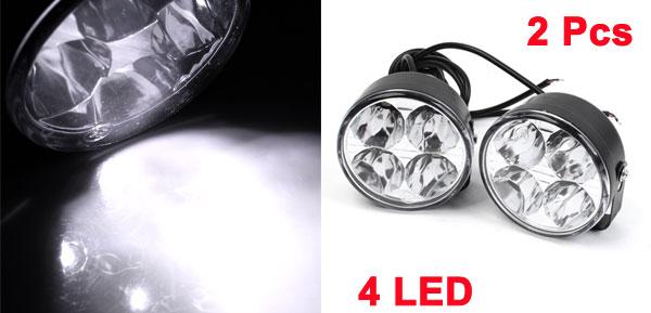 X Autohaux Pair Round Shape 4 LED White Car DRL Daytime Running Light Driving Lamp